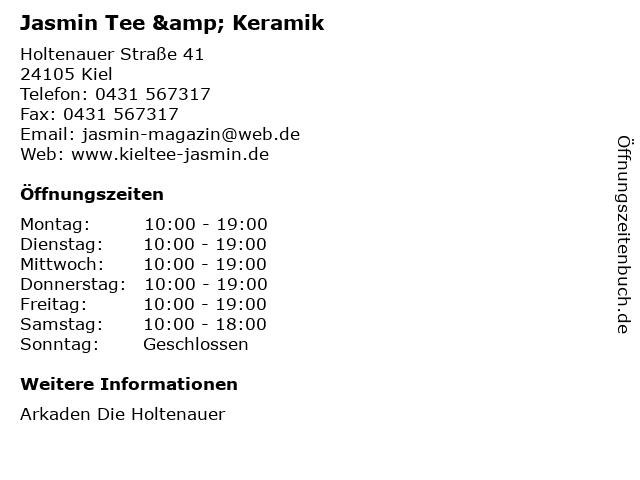 Jasmin Tee & Keramik in Kiel: Adresse und Öffnungszeiten