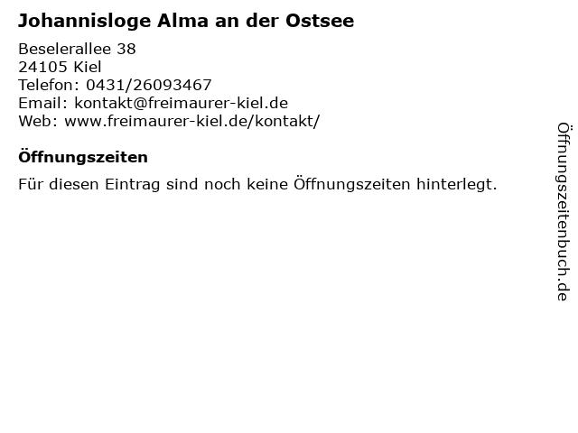 Johannisloge Alma an der Ostsee in Kiel: Adresse und Öffnungszeiten
