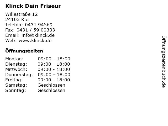KLINCK Der Friseur in Kiel: Adresse und Öffnungszeiten