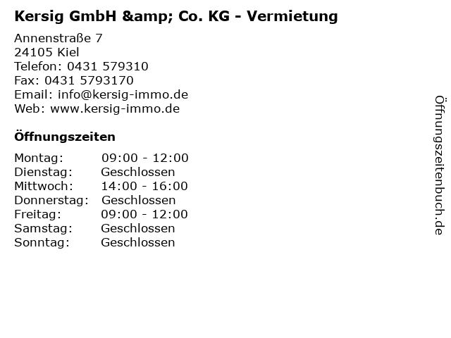 Kersig GmbH & Co. KG - Vermietung in Kiel: Adresse und Öffnungszeiten