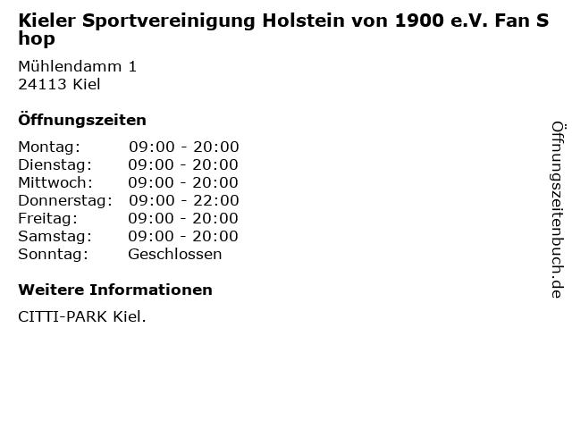 Kieler Sportvereinigung Holstein von 1900 e.V. Fan Shop in Kiel: Adresse und Öffnungszeiten
