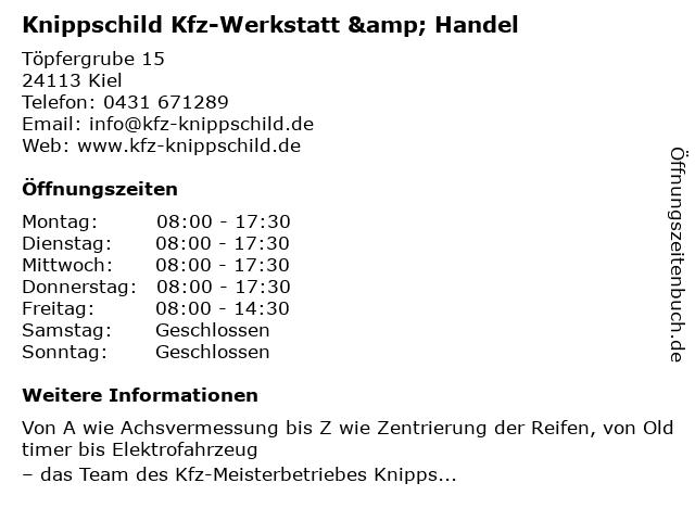 Knippschild Kfz-Werkstatt & Handel in Kiel: Adresse und Öffnungszeiten
