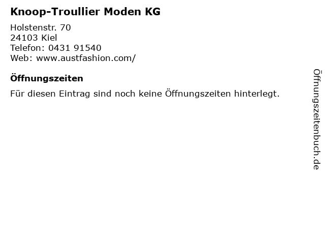 Knoop-Troullier Moden KG in Kiel: Adresse und Öffnungszeiten