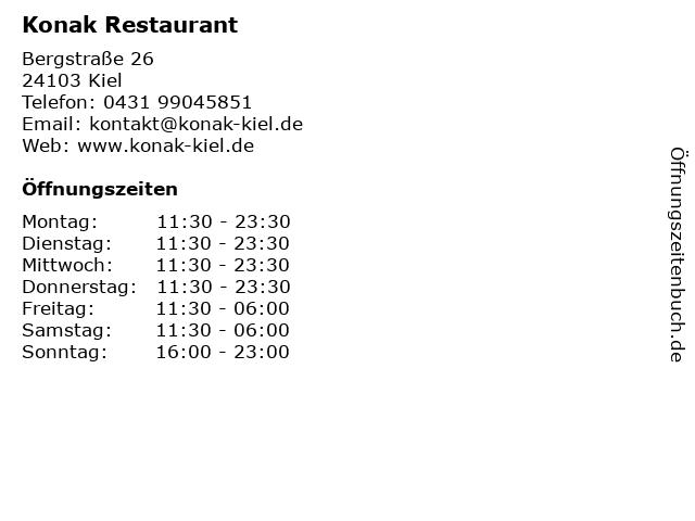 Konak Restaurant in Kiel: Adresse und Öffnungszeiten
