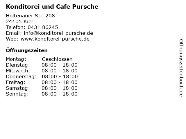 Konditorei und Cafe Pursche in Kiel: Adresse und Öffnungszeiten