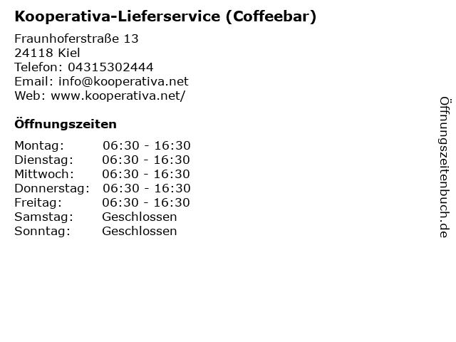 Kooperativa-Lieferservice (Coffeebar) in Kiel: Adresse und Öffnungszeiten