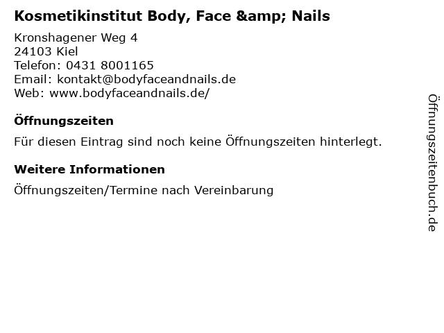 Kosmetikinstitut Body, Face & Nails in Kiel: Adresse und Öffnungszeiten