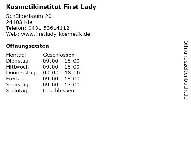 Kosmetikinstitut First Lady in Kiel: Adresse und Öffnungszeiten