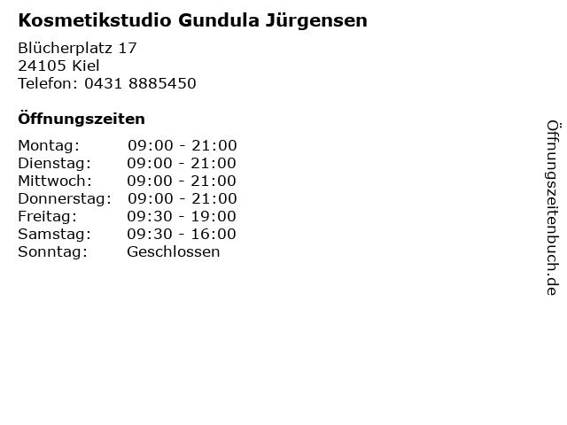 Kosmetikstudio Gundula Jürgensen in Kiel: Adresse und Öffnungszeiten