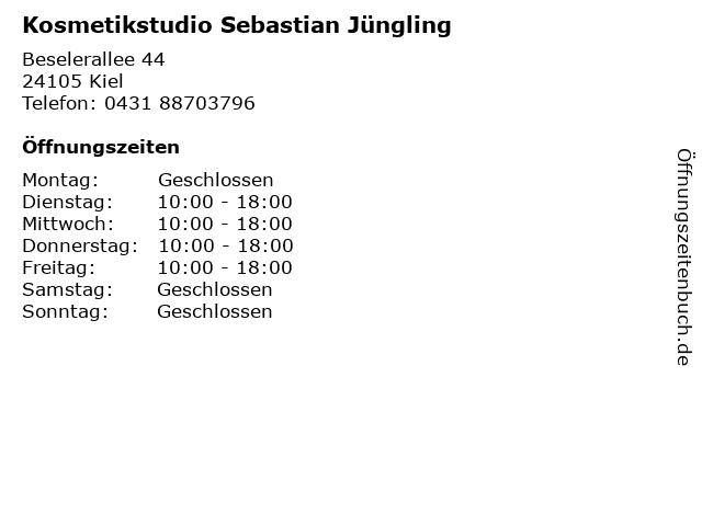 Kosmetikstudio Sebastian Jüngling in Kiel: Adresse und Öffnungszeiten