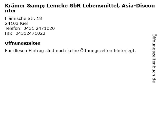 Krämer & Lemcke GbR Lebensmittel, Asia-Discounter in Kiel: Adresse und Öffnungszeiten