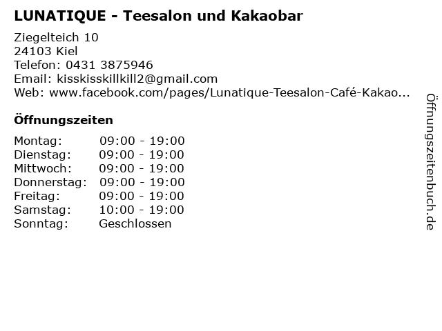 LUNATIQUE - Teesalon und Kakaobar in Kiel: Adresse und Öffnungszeiten