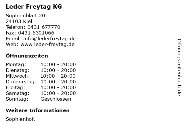 Leder Freytag KG in Kiel: Adresse und Öffnungszeiten