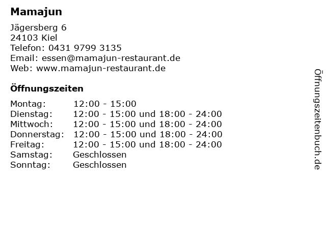 Mamajun (Neu seit April 2017 im ehem. Frens) in Kiel: Adresse und Öffnungszeiten