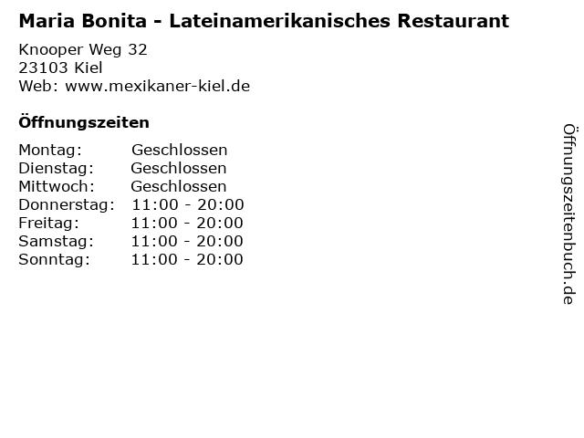 Maria Bonita - Lateinamerikanisches Restaurant in Kiel: Adresse und Öffnungszeiten