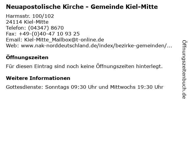 Neuapostolische Kirche - Gemeinde Kiel-Mitte in Kiel-Mitte: Adresse und Öffnungszeiten