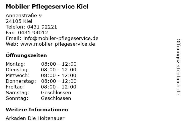 Mobiler Pflegeservice Kiel in Kiel: Adresse und Öffnungszeiten