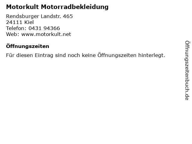 Motorkult Motorradbekleidung in Kiel: Adresse und Öffnungszeiten
