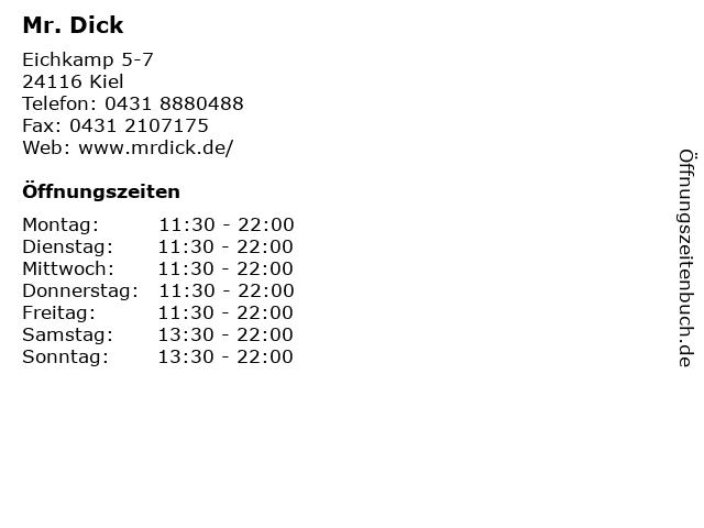 Mr. Dick in Kiel: Adresse und Öffnungszeiten
