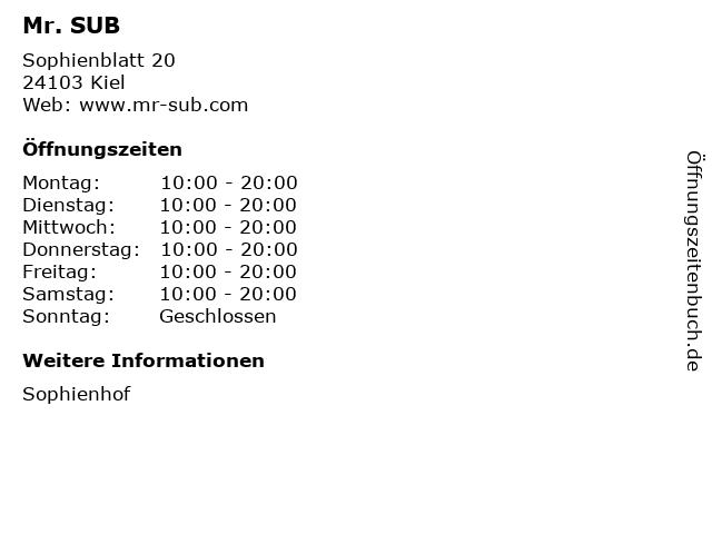 Mr. SUB in Kiel: Adresse und Öffnungszeiten