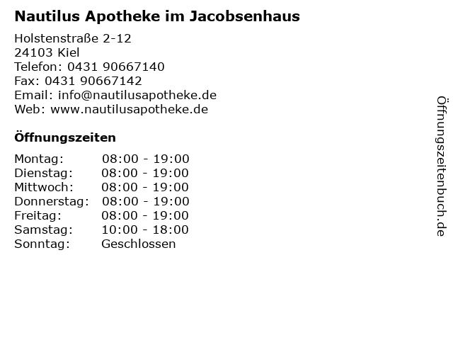 Nautilus Apotheke im Jacobsenhaus in Kiel: Adresse und Öffnungszeiten