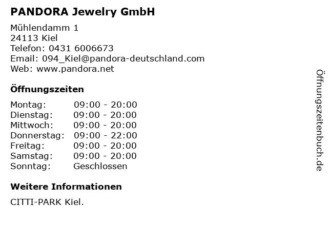 PANDORA Jewelry GmbH in Kiel: Adresse und Öffnungszeiten