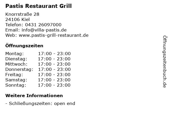 Pastis Restaurant Grill in Kiel: Adresse und Öffnungszeiten