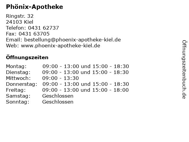 Phönix-Apotheke in Kiel: Adresse und Öffnungszeiten