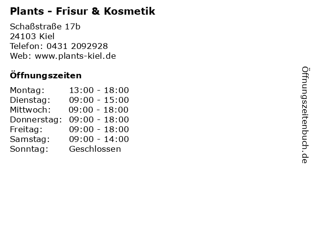 Plants - Frisur & Kosmetik in Kiel: Adresse und Öffnungszeiten
