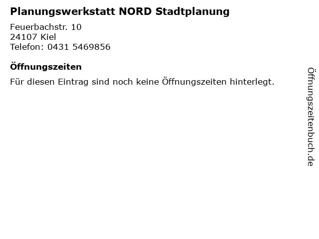 Planungswerkstatt NORD Stadtplanung in Kiel: Adresse und Öffnungszeiten