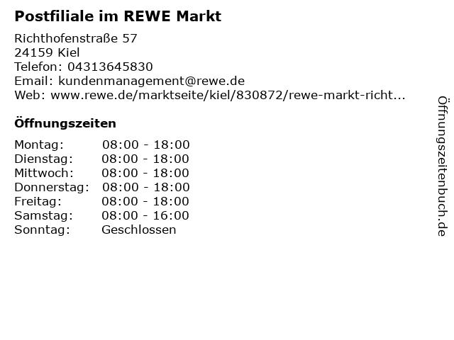 Postfiliale im REWE Markt in Kiel: Adresse und Öffnungszeiten