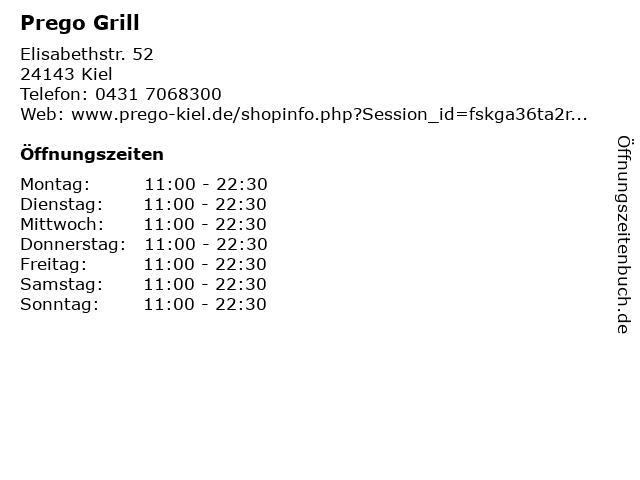 Prego Grill in Kiel: Adresse und Öffnungszeiten