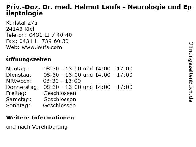 Priv.-Doz. Dr. med. Helmut Laufs - Neurologie und Epileptologie in Kiel: Adresse und Öffnungszeiten