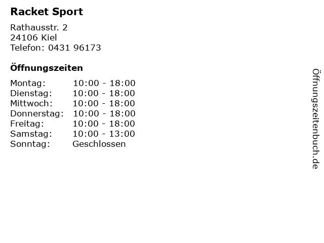 Racket Sport in Kiel: Adresse und Öffnungszeiten