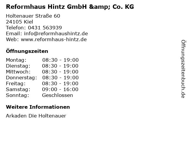 Reformhaus Hintz GmbH & Co. KG in Kiel: Adresse und Öffnungszeiten