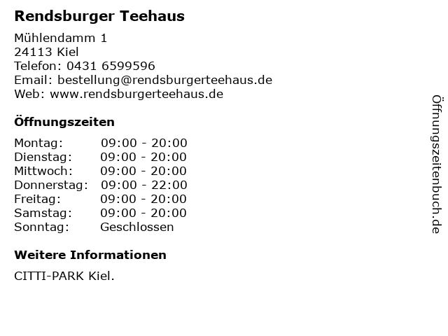 Rendsburger Teehaus in Kiel: Adresse und Öffnungszeiten