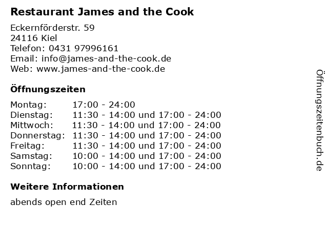 Restaurant James and the Cook in Kiel: Adresse und Öffnungszeiten