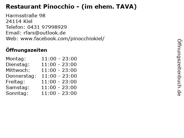 Restaurant Pinocchio - (im ehem. TAVA) in Kiel: Adresse und Öffnungszeiten