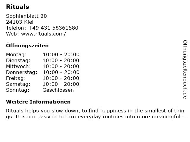 Rituals Cosmetics Germany GmbH in Kiel: Adresse und Öffnungszeiten