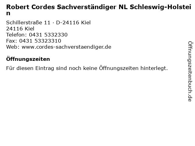 Robert Cordes Sachverständiger NL Schleswig-Holstein in Kiel: Adresse und Öffnungszeiten