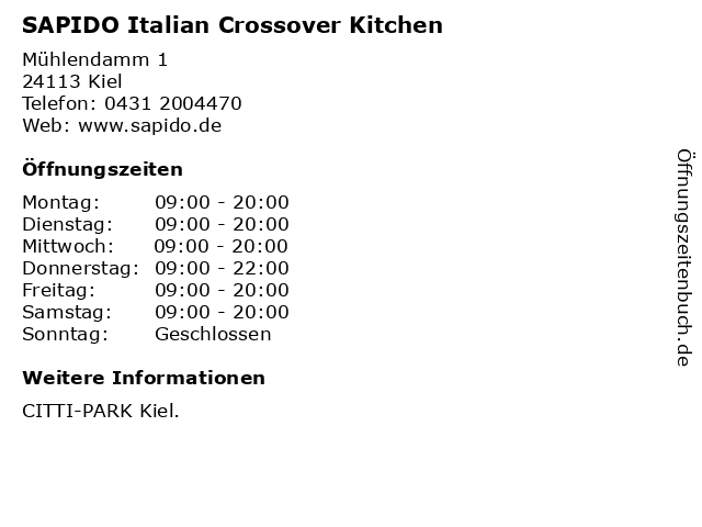 SAPIDO Italian Crossover Kitchen in Kiel: Adresse und Öffnungszeiten