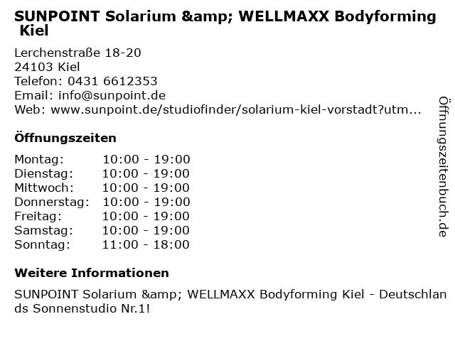 SUNPOINT Solarium & WELLMAXX Bodyforming Kiel in Kiel: Adresse und Öffnungszeiten