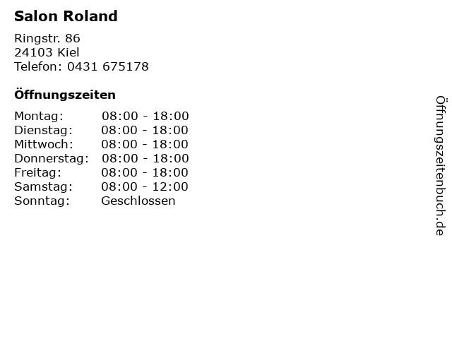Salon Roland in Kiel: Adresse und Öffnungszeiten