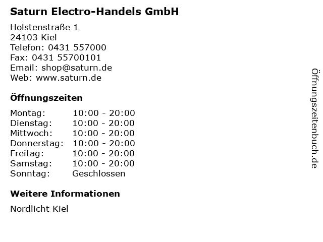 Saturn Electro-Handels GmbH in Kiel: Adresse und Öffnungszeiten