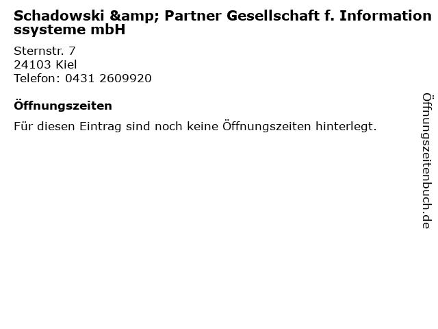 Schadowski & Partner Gesellschaft f. Informationssysteme mbH in Kiel: Adresse und Öffnungszeiten