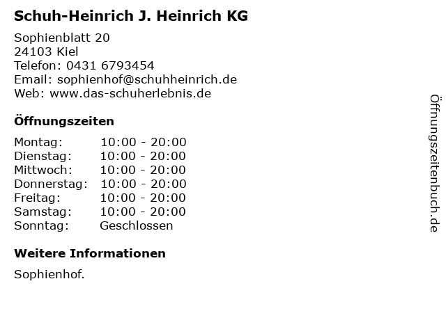 Schuh-Heinrich J. Heinrich KG in Kiel: Adresse und Öffnungszeiten