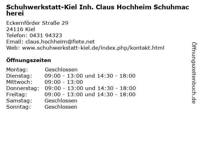Schuhwerkstatt-Kiel Inh. Claus Hochheim Schuhmacherei in Kiel: Adresse und Öffnungszeiten