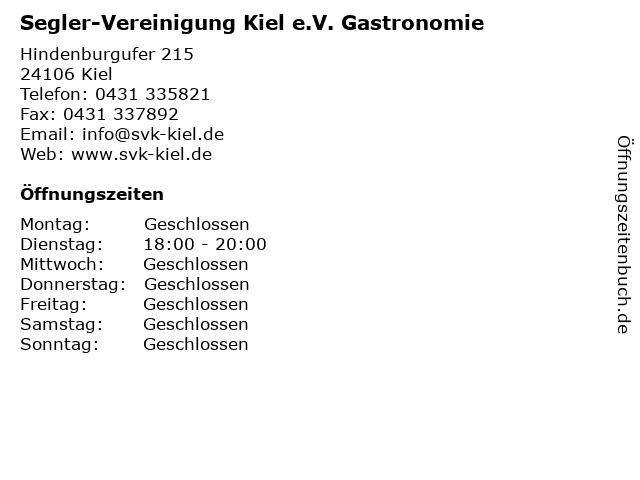 Segler-Vereinigung Kiel e.V. Gastronomie in Kiel: Adresse und Öffnungszeiten