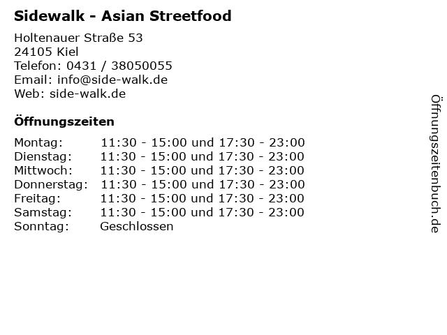 Sidewalk - Asian Streetfood in Kiel: Adresse und Öffnungszeiten