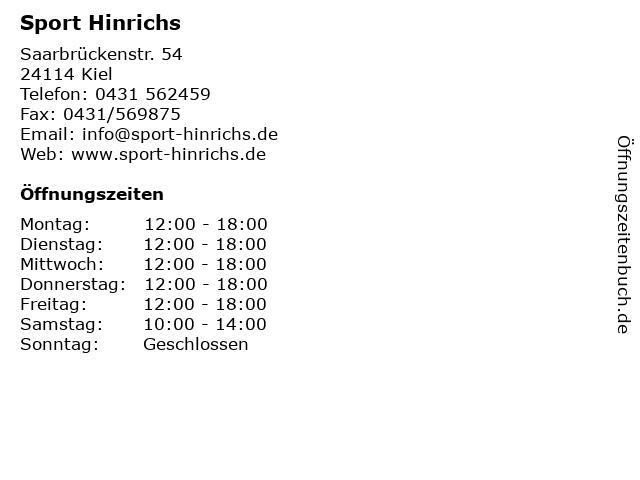 Sport Hinrichs in Kiel: Adresse und Öffnungszeiten